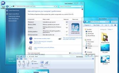 Indeks wydajności w Windows 7. Na dole okna Paint z nowym paskiem z przyciskami