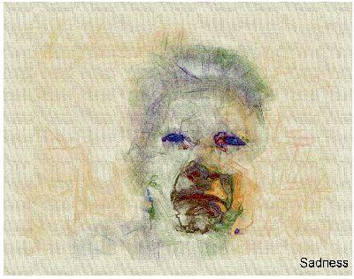 Portrety ludzkie wygenerowane przez sztuczną inteligencję (komputer). Powyżej: Smutek