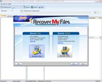 Ekran startowy aplikacji Recover my Files z uruchomionym kreatorem.