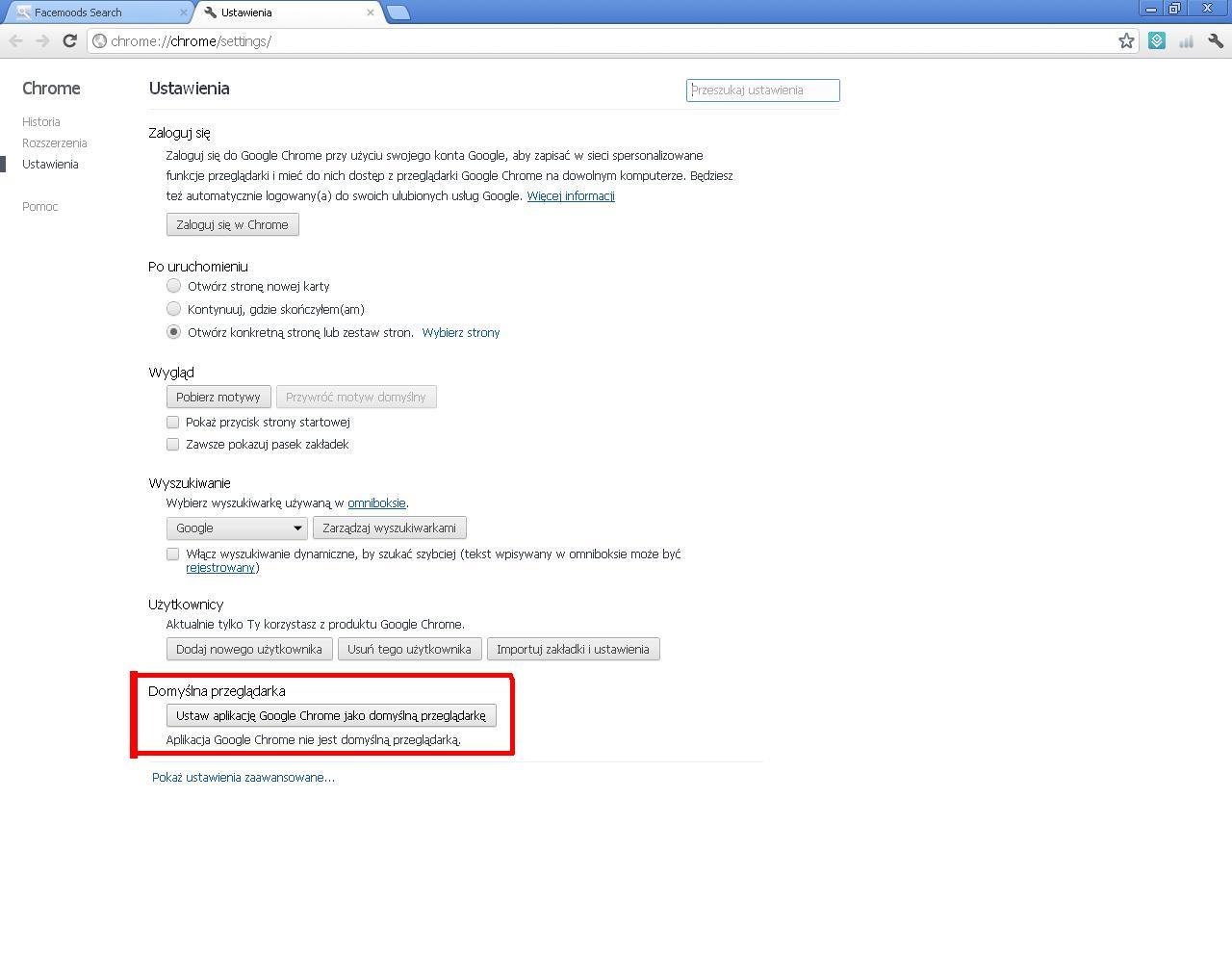 Ustawianie Chrome jako przeglądarki domyślnej