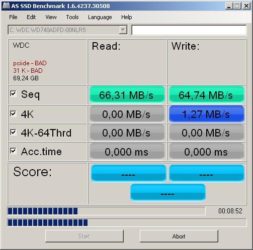 Za pomocą bezpłatnego programu ASS SSD Benchmark możesz własnoręcznie zbadać wydajność zwyczajnego dysku twardego, a także modelu SSD.