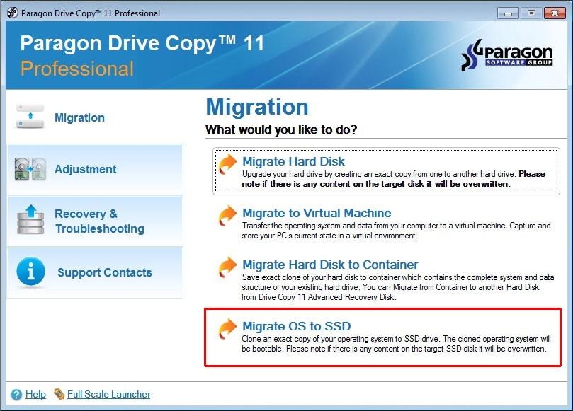 Za pomocą programu takiego jak Paragon Drive Copy przeniesiesz całą partycję z systemem Windows na nowy dysk SSD. Wskaż w tym celu polecenie Migrate OS to SSD w głównym oknie aplikacji.