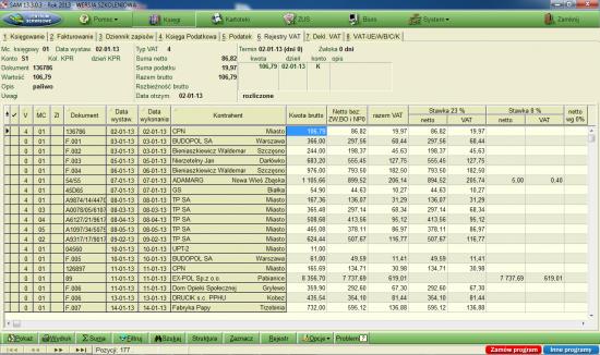 Widok okna Rejestry VAT w programie SAMozatrudnienie firmy FORMAT.