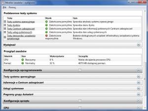 Niewielki fragment obszernego raportu diagnostycznego – uruchomione z odpowiednim parametrem narzędzie PerfMon zapewnia dogłębne informacje o sprzęcie, oprogramowaniu, nośnikach danych, wydajności i bezpieczeństwie systemu.