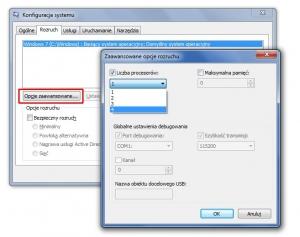 Centrala konfiguracyjna Msconfig – domyślnie Windows uruchamia się przy użyciu jednego rdzenia. Tu możesz to zmienić.
