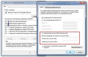 Na wypadek awarii serwera DNS – w tym oknie konfiguracyjnym możesz podać alternatywny adres.