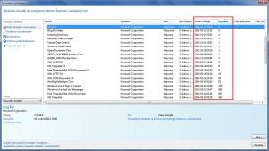 Bardzo łatwo ustalisz niepotrzebne rozszerzenia w menedżerze dodatków Internet Explorera. Wystarczy włączyć wyświetlanie tych dwóch kolumn.