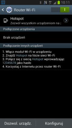 Konfiguracja Hotspota w Androidzie - Samsung