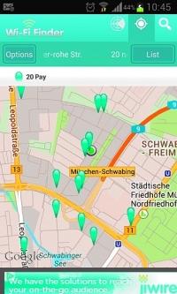 Aplikacja taka jak Wi-Fi Finder wskaże ci miejsca, w których możesz skorzystać z publicznych sieci WLAN.