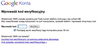Dwuetapowa weryfikacja w systemie logowania Google.
