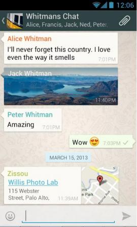 Czat grupowy w aplikacji WhatsApp. Źródło: play.google.com.