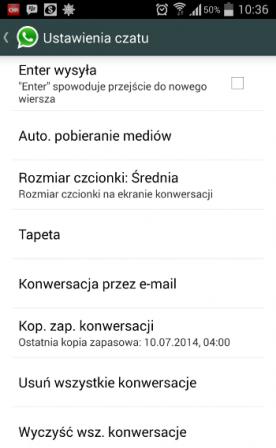 Ustawienia czatu w WhatsApp.