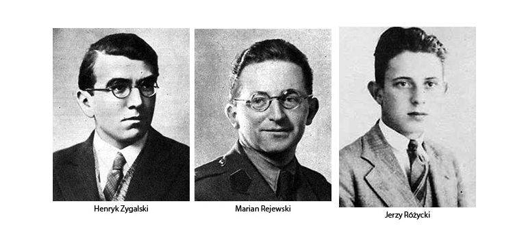 Image result for Marian Rejewski, Jerzy Różycki and Henryk Zygalski, working for Polish military intelligence.