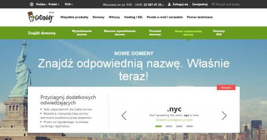 Domeny globalne oraz .pl możesz rejestrować także u światowych rejestratorów domen, m.in. w GoDaddy. Zwróć uwagę na ciekawe promocje i dobre ceny odnowień.