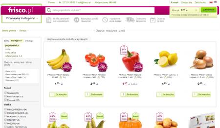 Frisco.pl to jeden z największych supermarketów spożywczych w sieci. Firma ta prowadzi sklepy pod markami A.pl oraz Fresh24.pl.