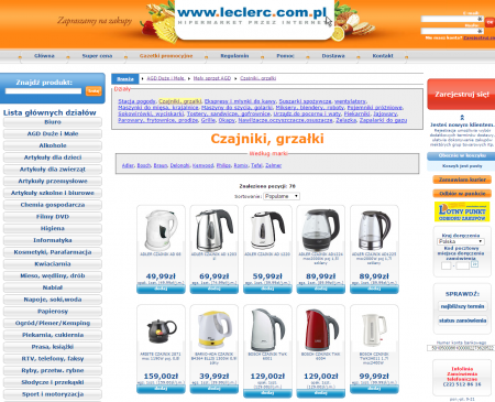HiperNet24.pl (E.Leclerc Bielany) pozwala na zamówienie do domu sprzętu AGD i RTV, artykuły biurowe, narzędzia dla domu i ogrodu, akcesoria motoryzacyjne, zabawki a nawet odzież i tekstylia.