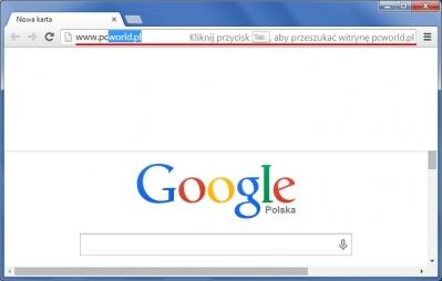 W witrynach, które obsługują technologię OpenSearch, można wyszukiwać bezpośrednio z pola adresu Chrome'a. Wystarczy wpisać adres strony i nacisnąć klawisz [Tab].