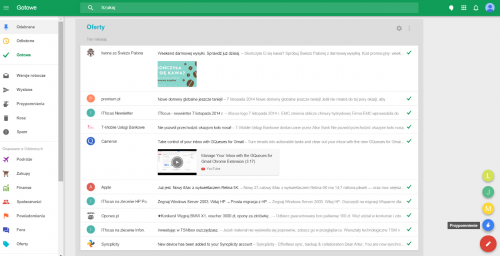 Interfejs webowy Inbox by Gmail w widoku skrzynki Odebrane z rozwiniętą listą grupowania wiadomości z kategorii Oferty.