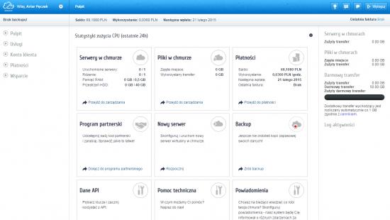 Panel główny e24cloud.com umożliwia zarządzanie serwerami w chmurze, plikami oraz backupem. Z tego miejsca sprawdzisz rozliczenia za usługi oraz doładujesz konto nowymi środkami.