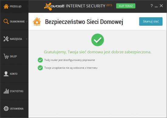 Funkcja Bezpieczeństwo Sieci Domowej programu Avast sprawdza, czy router został poprawnie skonfigurowany, a wszystkie twoje urządzenia nie są widoczne z internetu.