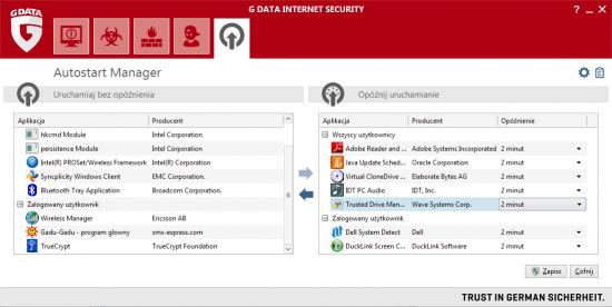 Menedżer autostartu w pakiecie G Data Internet Security pozwala zoptymalizować sposób uruchamiania systemu Windows.