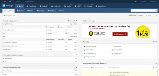 Pulpit główny wfirma.pl agreguje informacje o podatkach i ubezpieczeniach, nieuregulowanych zobowiązaniach i należnościach.