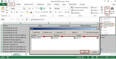 W następnym etapie posortuj dane arkusza (tu: wg nazwy firmy).