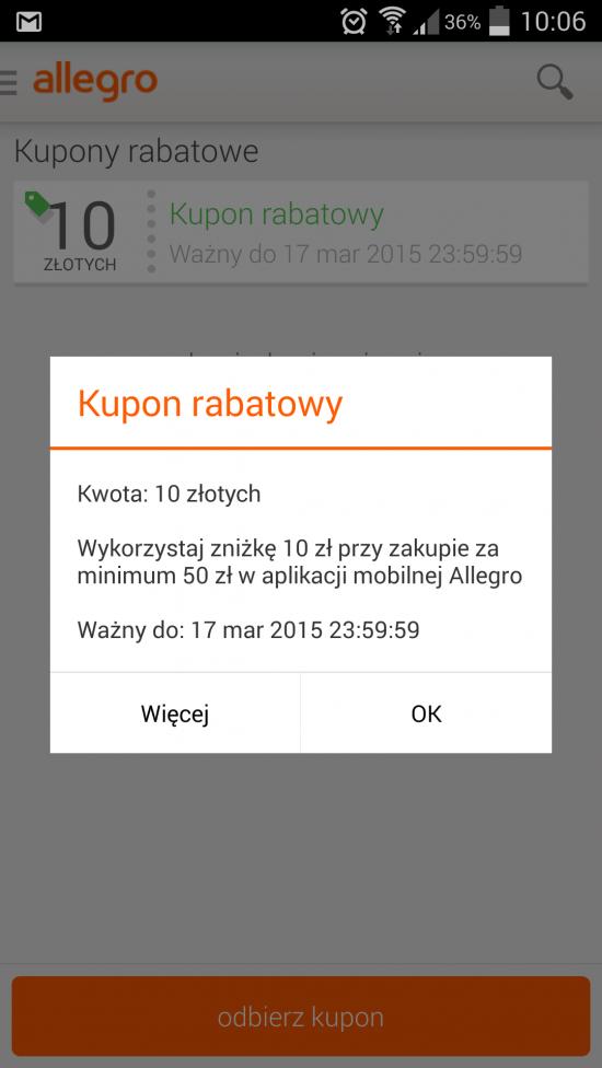 Allegro rozdaje kupony wartościowe do wykorzystania na zakupy w aplikacji mobilnej.