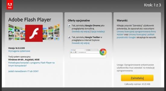 Transakcja wiązana? Jeśli nie odznaczysz stosownych opcji, instalując Adobe Flash Playera, na dysku komputera pojawi się także przeglądarka Google Chrome (przydatna) oraz pasek narzędziowy Google Toolbar w przeglądarce Internet Explorer (już mniej przydatny).