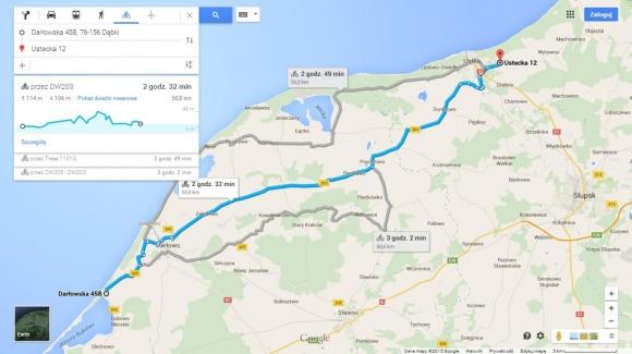 Gdy wybierzesz rower jako środek transportu do przemierzenia wyznaczonej trasy, na ekranie pojawią się wysokości względne wzniesień, które musisz pokonać, a także profil topograficzny trasy.