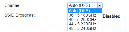 Dostępne kanały w częstotliwości 5 GHz w routerze wykorzystanym w artykule.