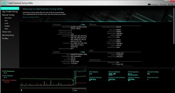 Nawet jeśli nie można przetaktować procesora twojego laptopa, warto uruchomić narzędzie Intel Extreme Tuning Utility, bo podaje ciekawe informacje takie jak temperatura jednostki CPU i częstość wymuszania niższego taktowania (throttling).
