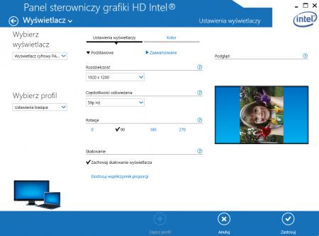 Sterowniki kart graficznych również oferują obracanie ekranu. Zrzut ekranowy przedstawia sterowniki Intel do zintegrowanych układów graficznych - funkcja