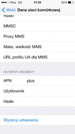 W przypadku operatora Plus trzeba wpisać APN-y o nazwie