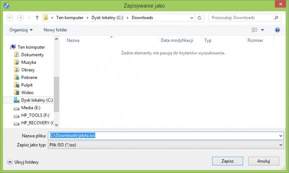 CDBurnerXP - wskaż nazwę i lokalizację pliku