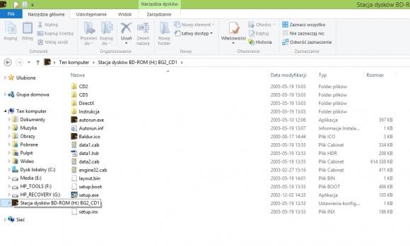 Virtual CloneDrive - w systemie pojawił się nowy napęd, wirtualny czytnik DVD z zamontowanym obrazem płyty (tu: Baldur's Gate II).