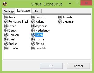 Virtual CloneDrive - ustawienia języka