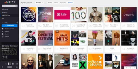 Aplikacja webowa Deezer. Playlisty użytkowników.