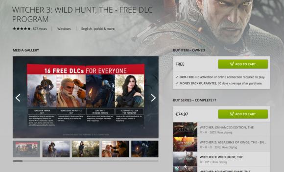 Dodatki DLC do Wiedźmina 3 można pobrać z serwisu GOG