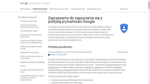 Na tej stronie można zapoznać się z Polityką Prywatności i rodzajem informacji, które są zbierane i przechowywane przez serwis Google.