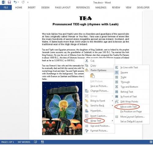 Edytor zapewnia różne opcje otaczania elementów graficznych tekstem.