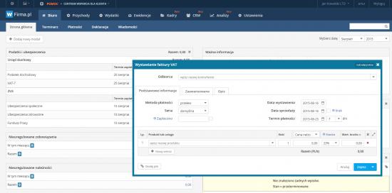 Panel startowy aplikacji wfirma.pl z widokiem okna służącego do wystawiania faktur VAT
