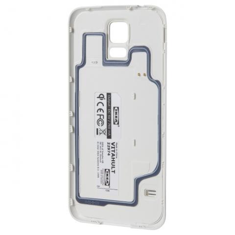 Niektóre modele smartfonów można wyposażyć w moduł ładowania bezprzewodowego, umieszczając je w specjalnym pokrowcu (tu: Ikea Vitahult do Samsunga Galaxy S5).