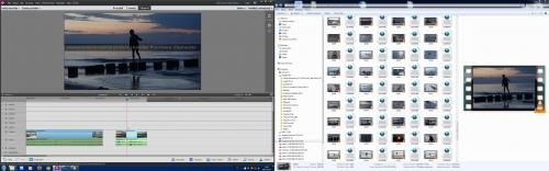 Okno popularnego programu do montażu - Adobe Premiere Elements. Obok folder z klipami wideo.