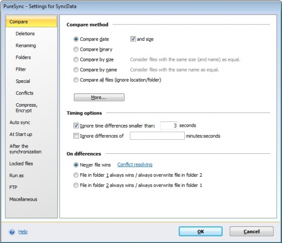 Program PureSync doskonale sprawdza się jako narzędzie do synchronizowania zasobów danych. Porównuje pliki, aby zaoszczędzić sobie zbędnych operacji kopiowania.