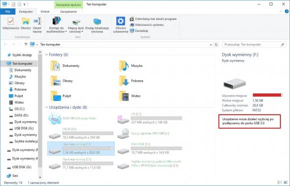 Ten nośnik USB może uzyskać większą wydajność. W Windows 10 nawet Eksplorator informuje, że urządzenie ze złączem USB 3.0 podłączono do portu USB 2.0.