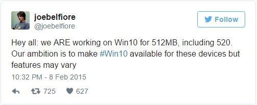 Joe Belfiore z Microsoftu zapewniał, że smartfony  z 512 MB otrzymają Windows 10 Mobile