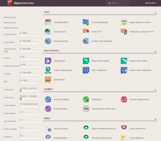 Panel klienta w Kylos umożliwia zarządzanie domenami, konfiguracją WWW i poczty elektronicznej, bazami danych oraz plikami.