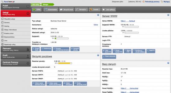 Widok podsumowania w panel administratora home.pl gromadzi informacje o zamówionych usługach hostingowych i poziomie ich wykorzystania.